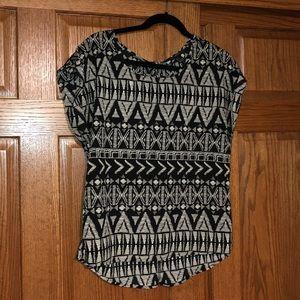Tribal Print Short Sleeved Blouse
